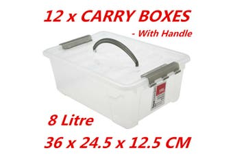 12 x 8L Plastic Storage Boxes w Lid and Handle Containers Tub Bin 36x24.5x12.5cm