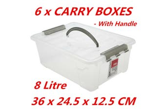 6 x 8L Plastic Storage Boxes w Lid and Handle Containers Tubs Bin 36x24.5x12.5cm