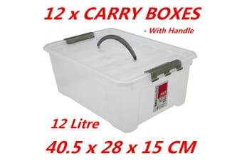 12 x 12L Plastic Storage Boxes w Lid and Handle Containers Tubs Bin 40.5x28x15cm