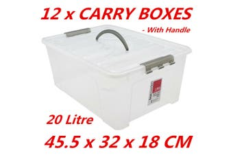 12 x 20L Plastic Storage Boxes w Lid and Handle Containers Tubs Bin 45.5x32x18cm