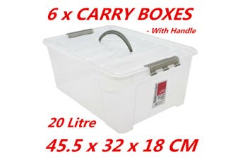 6 x 20L Plastic Storage Boxes w Lid and Handle Containers Tubs Bin 45.5x32x18cm