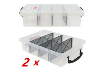 2 x 6L Clear Plastic Storage Box with Removable Dividers Containers Bin Tubs Tub