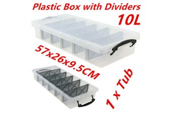 10L Clear Plastic Storage Box with Removable Dividers Containers Bin Tubs dd