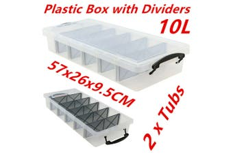 2 x 10L Clear Plastic Storage Box with Removable Dividers Containers Bin Tubs dd