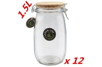 12 x 1500ml Round Food Storage Jar Glass Jars Canister Container Wooden Lid