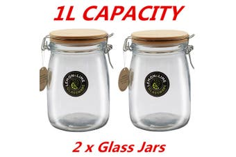 2 x Round Food Storage Jar 1000ml 1L Glass Jars Canister Container Wooden Clip Lid