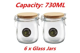6 x Round Food Storage Jar 730ML Glass Jars Canister Container Wooden Clip Lock Lid