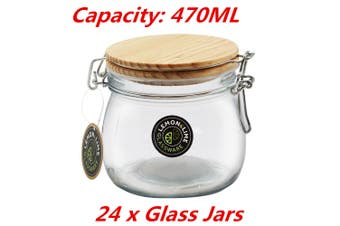 24 x 470ML Food Storage Jar Glass Jars Canister Container Wooden Clip Lock Lid