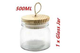 1 x 500ml Glass Jars Multi-purpose Storage Jar Wooden Airtight Lid Canister