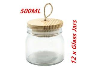 12 x 500ml Glass Jars Multi-purpose Storage Jar Wooden Airtight Lid Canister