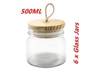 6 x 500ml Glass Jars Multi-purpose Storage Jar Wooden Airtight Lid Canister