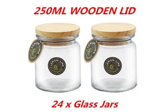 24 x 250ml Round Glass Jars Food Storage Jar Canister Container Wooden Lid Kitchen