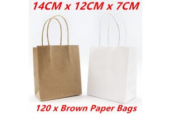 120 x Small Kraft Craft Brown Paper Party Carry Bags Handle Gift Bags 14CM
