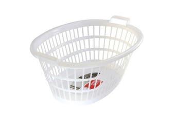 1 x White Plastic Laundry Hamper Basket Clothes Washing Storage Bin Bathroom 63x43.5x27cm