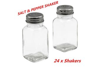 24 x Glass Salt n Pepper Shakers Stainless Steel Top Spices Seasoning Shaker Kitchen