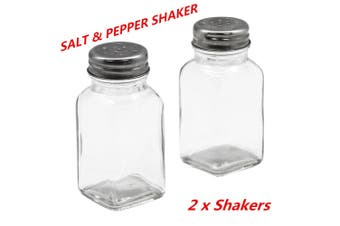 2 x Glass Salt n Pepper Shakers Stainless Steel Top Spices Seasoning Shaker Kitchen