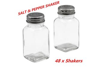 48 x Glass Salt n Pepper Shakers Stainless Steel Top Spices Seasoning Shaker Kitchen