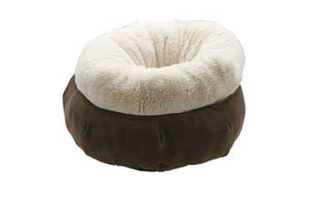 1 x Brown Super Soft Pet Snuggle Bed 45cm Cats and Dogs Warm Beds Mattress Cat Cave Mat