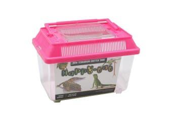 Plastic Pink Aquarium Fish Tank Critter Reptile Insect Goldfish Cage Carry 18X11X12CM