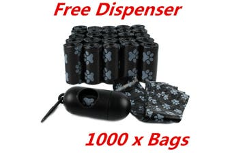 1000 X Pet Dog Puppy Poo Bag Waste Disposable Clean Up Plastic Printed Bags WMCV