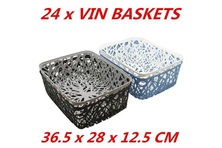 24 x Colored Pattern Plastic Storage Baskets Organiser Box Home 36.5x28x12.5cm