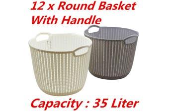 12 x 35L Plastic Storage Round Baskets with Handle Organizer Bin Laundry Toys