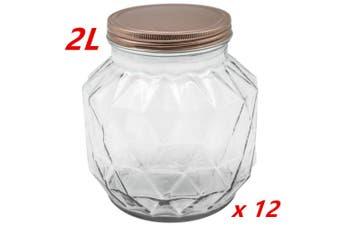 12 x 2000ML VINTAGE GLASS CANISTER ROSE GOLD LID Food Storage Cookie Kitchen Jars 2L