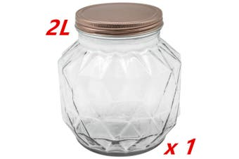 1 x 2000ML VINTAGE GLASS CANISTER ROSE GOLD LID Food Storage Cookie Kitchen Jars 2L