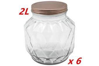 6 x 2000ML VINTAGE GLASS CANISTER ROSE GOLD LID Food Storage Cookie Kitchen Jars 2L