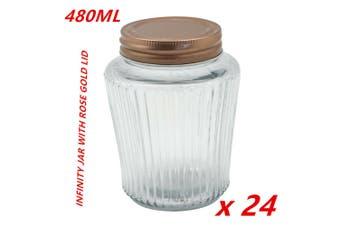 24 x Ribbed Glass Jar 480ml Rose Gold Lid Preserving Honey Lollies Jams Jars DFD
