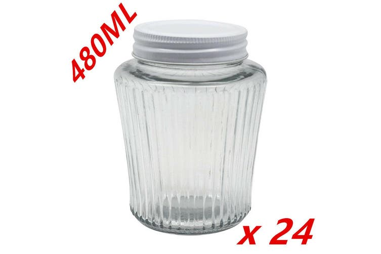 24 x Ribbed Glass Jar 480ml White Color Lid Preserving Honey Lollies Jams Jars