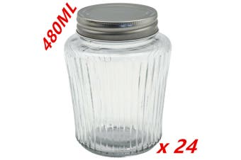 24 x Ribbed Glass Jar 480ml Silver Color Lid Preserving Honey Lollies Jam Jars