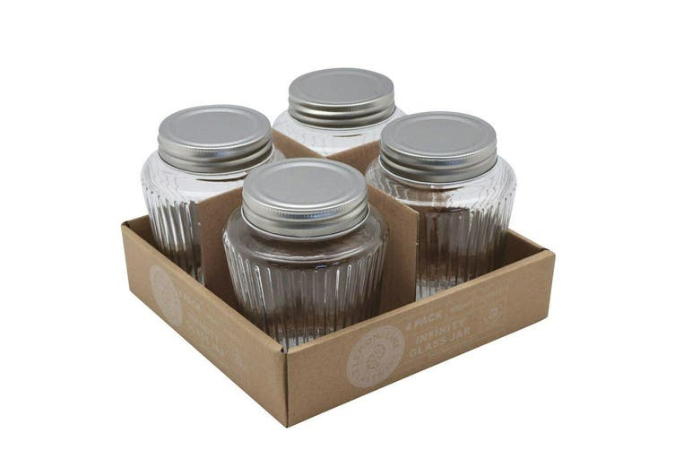 24 x Ribbed Glass Jar 480ml Silver Color Lid Preserving Honey Lollies Jam Jars