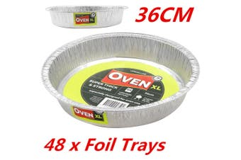 48 x Round Thick 36cm Aluminium Foil Roasting Tray Pan Dish BBQ Roast Baking Trays WM