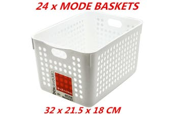 24 x Plastic Storage Baskets Handle Organizer Aerated Bin Laundry 32x21.5x18cm