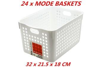 24 x Plastic Storage Baskets Handle Organizer Aerated Bin Laundry 32x21.5x18cm