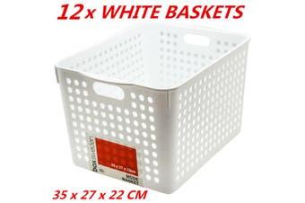 12 x Plastic Storage Baskets Handle Organizer Aerated Bin Laundry Toy 35x27x22cm