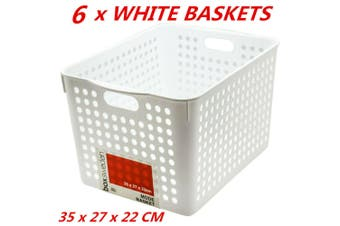 6 x Plastic Storage Baskets Handle Organizer Aerated Bin Laundry Toy 35x27x22cm