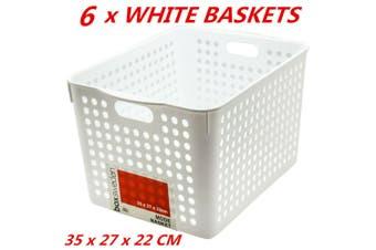 6 x Plastic Storage Baskets Handle Organizer Aerated Bin Laundry Toy 35x27x22cm