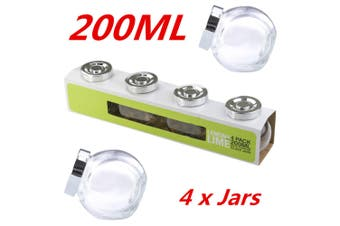 4 x 200ml Small Glass Jars Lid Lolly Jam Honey Spice Canister Conserve Jar