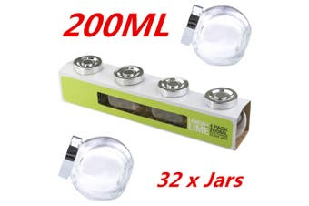 32 x 200ml Small Glass Jars Lid Lolly Jam Honey Spice Canister Conserve Jar