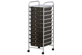Storage 10 Black Drawer Wheels Office Kitchen Home Metal Trolley Plastic Shelves