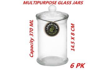 6 x 370ml Small Glass Jars Candle Wedding Favour Bomboniere Lolly Dessert Jar Packs