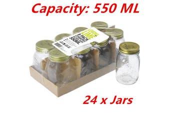 24 x 550ml Preserving Glass Jars with Lid Conserve Jam Jar Chutney Food Favors W