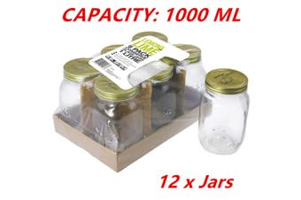 12 x 1L Large Preserving Jar 1000ML Conserve Glass Jars Chutney Storage Jam Sauces