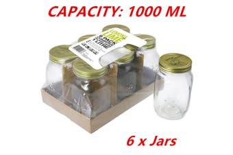 6 x 1L Large Preserving Jar 1000ML Conserve Glass Jars Chutney Storage Jam Sauces
