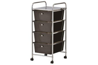 Storage 4 Black Drawer Metal Trolley Wheels Rolling Bathroom Pull Out Organizer