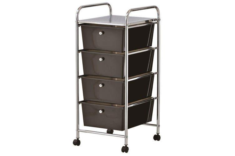 Storage 4 Black Drawer Metal Trolley Wheels Rolling ...