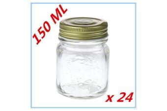 24 x Small 150ml Jam Conserve Dessert Candy Storage Glass Jar Gold Lid DDD