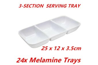 24 x White Melamine Serving Trays 3-Section Platter Food Catering Party 25X12cm